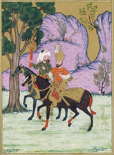 Царь Александр и Хидр вступают в страну тьмы. Средневековая персидская миниатюра.
