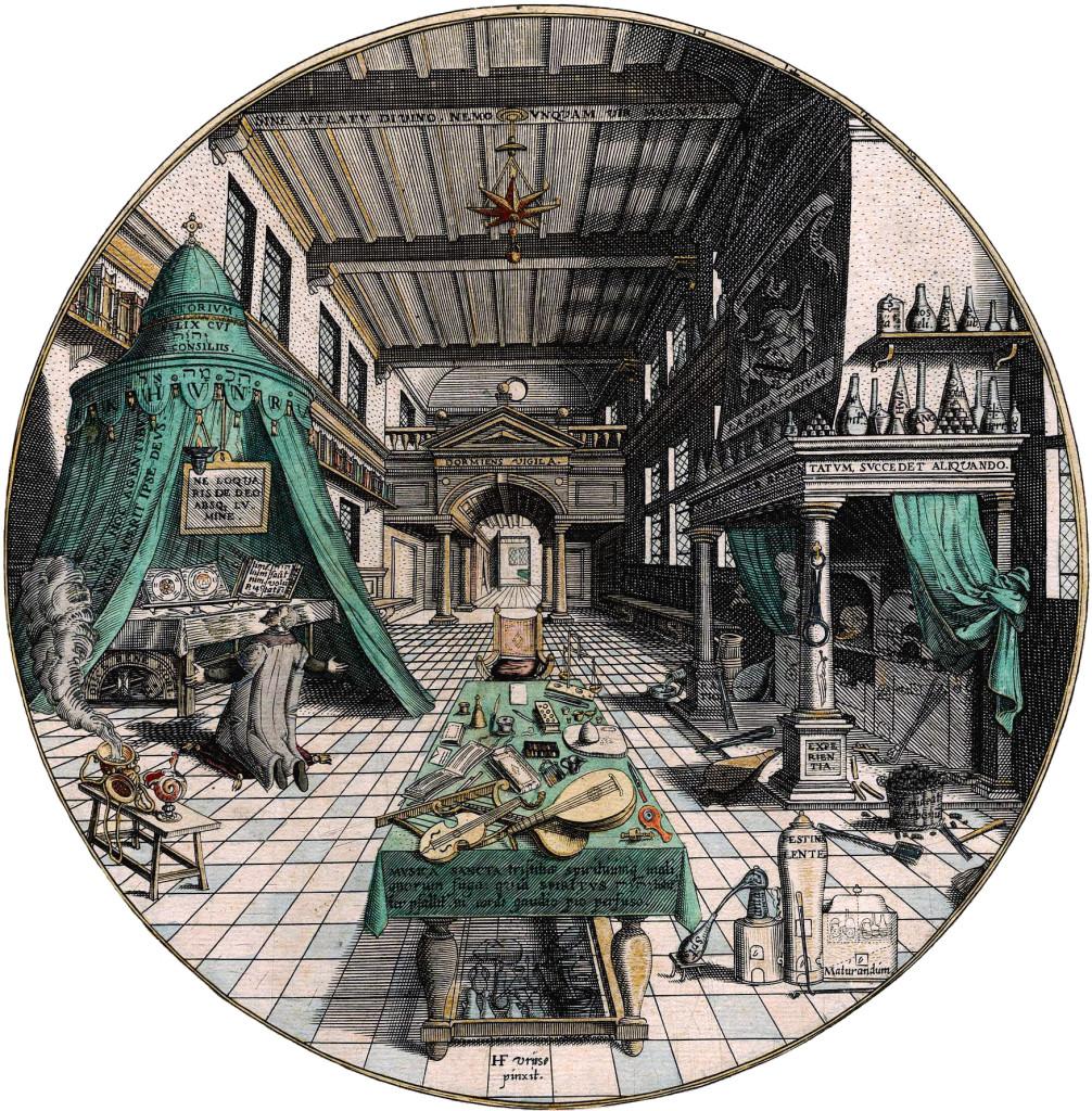 Лаборатория алхимика. Гравюра из: Heinrich Khunrath, Amphitheatrum sapientiae aeternae, 1595