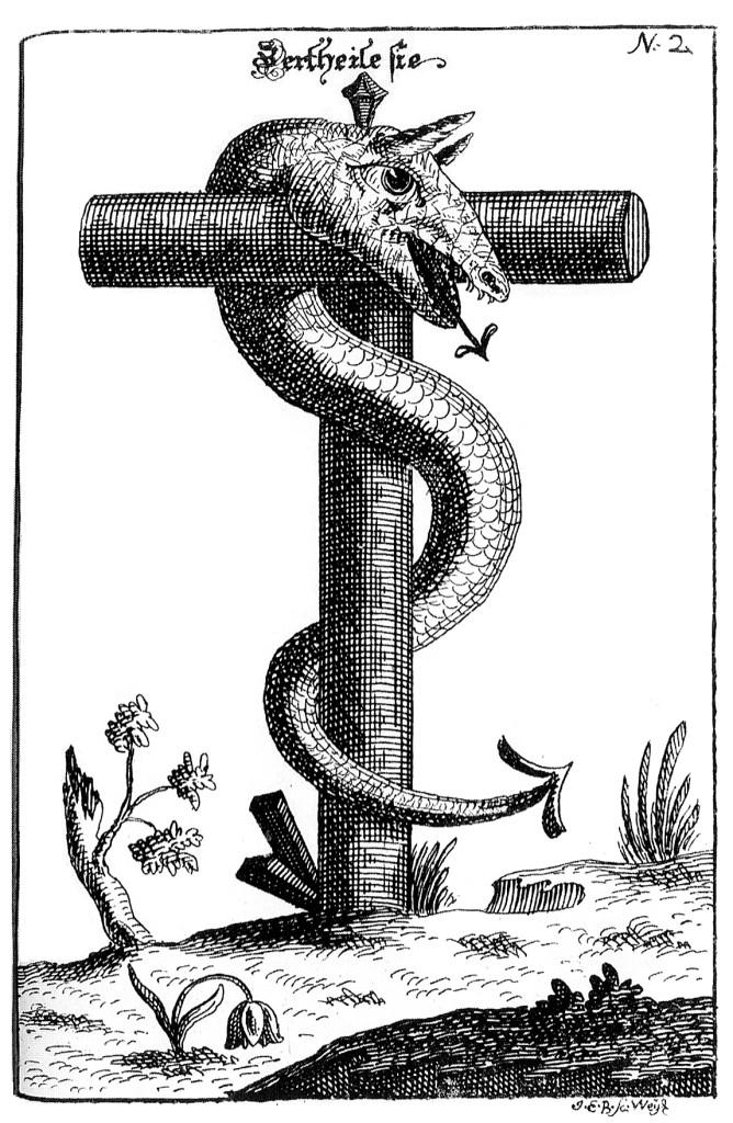 Алхимическая гравюра: Livre des figures hiéroglypiques (1613), приписываемой Никола Фламмелю.