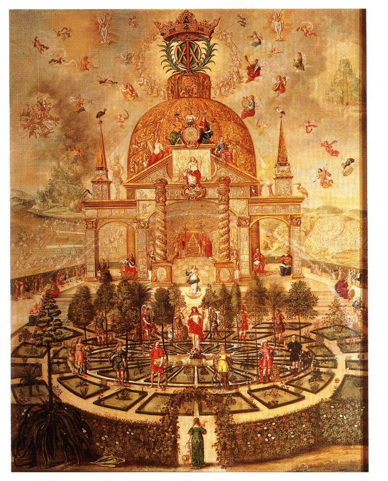 алтарная композиция в церкви немецкого города Бад Тайнак, где в плане прочитывается древо сефирот