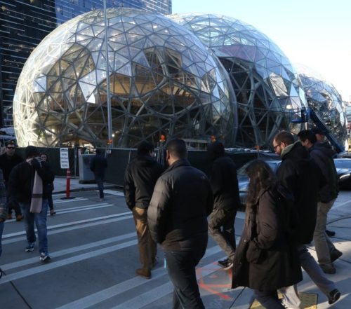 Amazon's new headquarters, designed accordingly to neo-futurist geodesic sphere, 2017