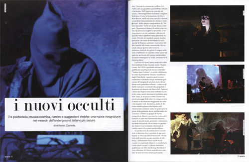 """The New Occult"", article about the movement in Italian monthly music magazine, 2014"