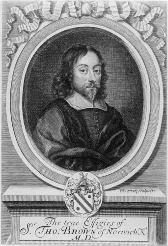 M0003473 Portrait of Sir Thomas Browne Credit: Wellcome Library, London. Wellcome Images images@wellcome.ac.uk http://wellcomeimages.org Portrait of Sir Thomas Browne Engraving By: Robert WhiteWorks Browne, Thomas Published: 1686 Copyrighted work available under Creative Commons Attribution only licence CC BY 4.0 http://creativecommons.org/licenses/by/4.0/