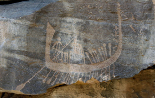Late Predynastic boat at site CAS-2 in Wadi Abu Subeira.