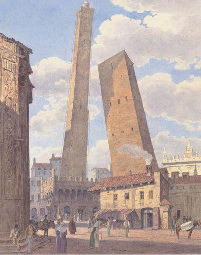 Jakob Alt - Die Türme Asinelli und Garisenda in Bologna (1836)