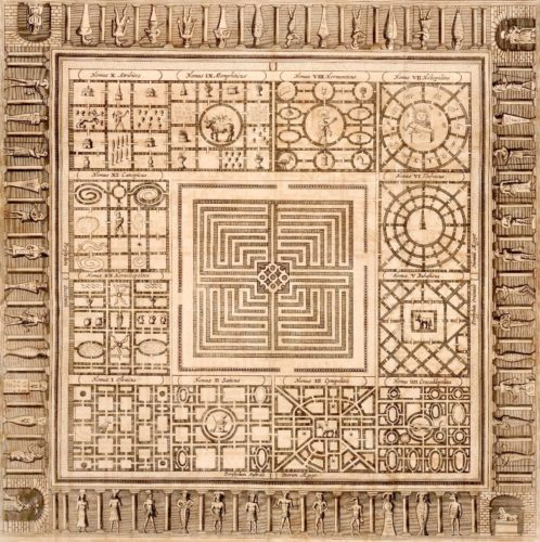 Diagram of an Ancient Egyptian labyrinth imagined by the Jesuit polymath Athanasius Kircher in his Oedipus Aegyptiacus [Egyptian Oedipus] (Rome, 1653).
